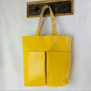 Neiman Marcus Yellow Leather Multi Tote NEW